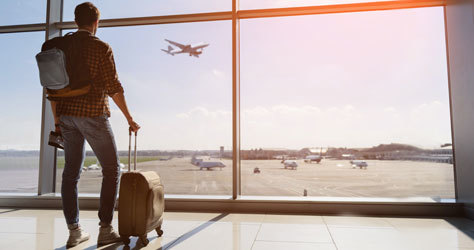 Un pasajero contempla un avión en la terminal.
