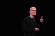 Tim Cook, CEO de Apple, en una rueda de prensa en Cupertino (EEUU).