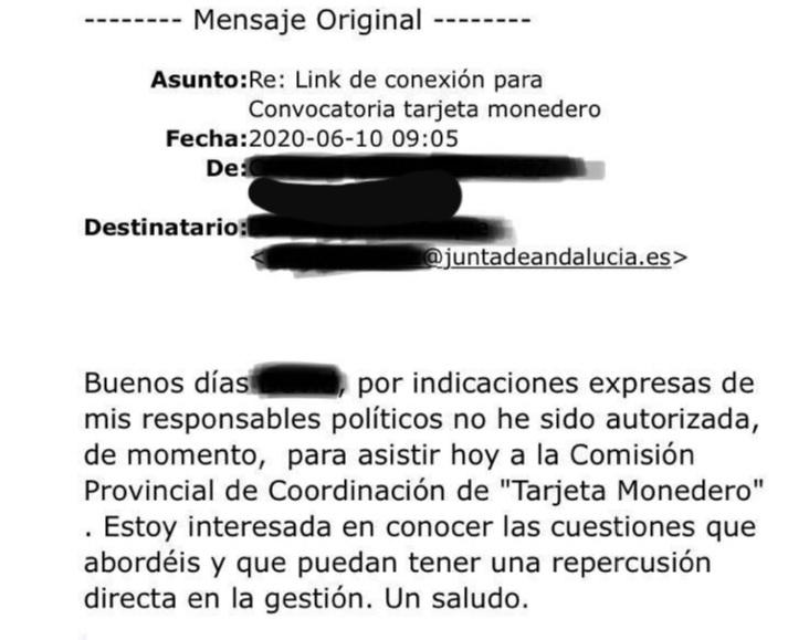 Extracto de uno de los correos enviados por un ayuntamiento del PSOE.
