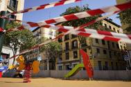 Uno de los parques infantiles de Madrid clausurado