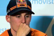 Pol Espargaró, en rueda de prensa con KTM.