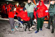 Inmigrantes llegados al puerto de Motril el pasado febrero.