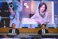 El presidente de CEOE, Antonio Garamendia, la presidenta del Banco Santander, Ana Botín, y el máximo responsable de BBVA, Carlos Torres.