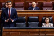 Pedro Sánchez, durante la sesión de control al Gobierno en el Congreso.