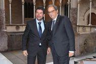 El presidente catalán, Quim Torra (dcha.), y Joan Canadell.