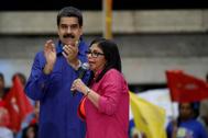 La vicepresidenta de Venezuela, Delcy Rodríguez, en un acto con Nicolás Maduro.