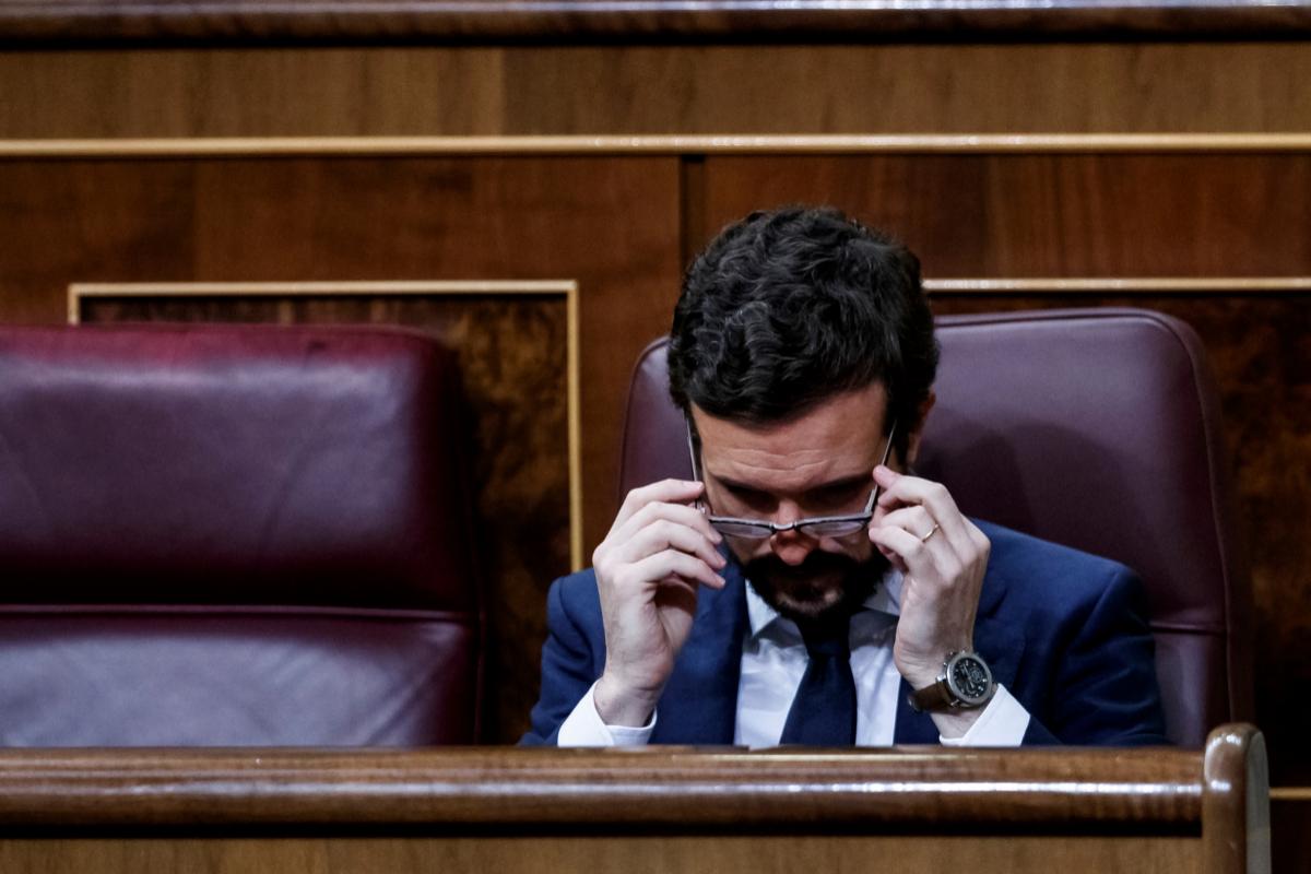 Pablo Casado, este miércoles, en un momento del pleno del Congreso.
