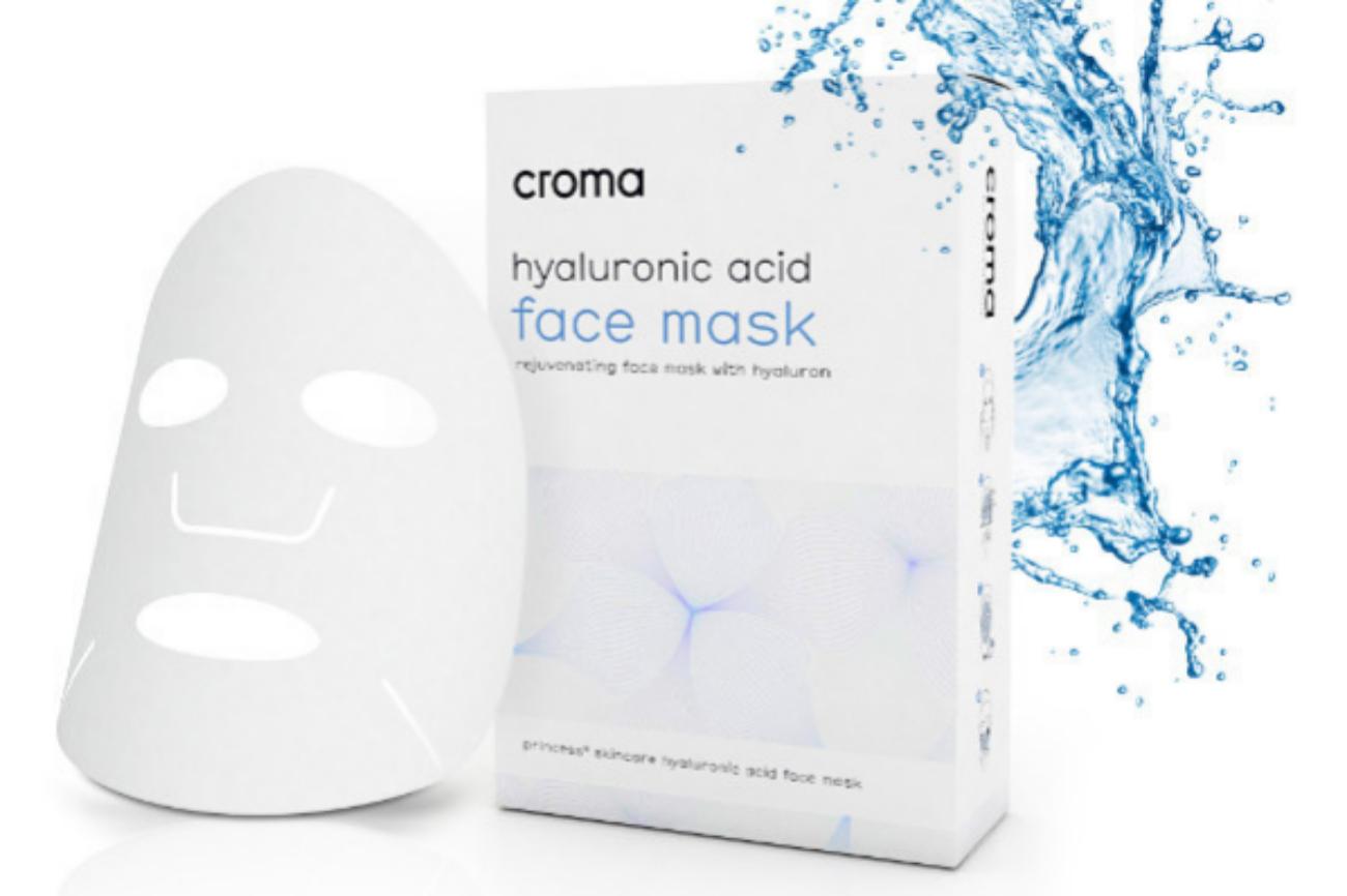'Hyaluronic Acid Face Mask' de Croma refresca la piel deshidratada y aumenta la elasticidad y la firmeza. Suaviza las pequeñas arrugas y deja la piel brillante e hidratada. Precio aproximado: 56 euros.