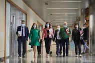 Representantes del Gobierno vasco, UGT, CCOO y Confebask, tras la reunion.