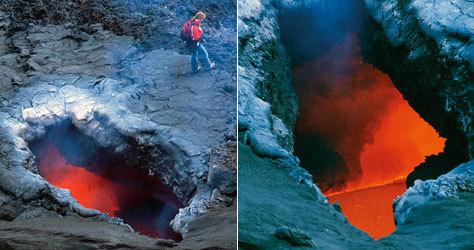 Imágenes del espectáculo ardiente del volcán.