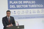Pedro Sánchez, este jueves, durante la presentación del plan de reactivación del turismo.