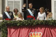 La Familia Real en la proclamación de Felipe VI, en 2014.
