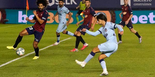 El remate del 0-1 de Joao Félix, el miércoles en El Sadar.