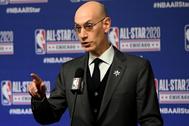 Adam Silver, comisionado de la NBA, en una rueda de prensa.