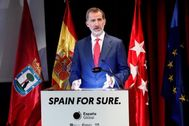 Su majestad, el Rey Felipe VI, durante la presentación el miércoles de la campaña turística 'Spain for sure'.