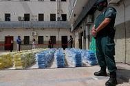 La droga incautada en el puerto de Valencia.