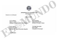 Encabezamiento de la carta del secretario del Tesoro de EEUU