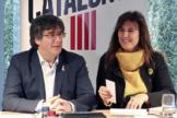 Puigdemont y Borràs durante una reunión de JxCat en Bélgica.