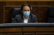 El vicepresidente del Gobierno, Pablo Iglesias, en la sesión del control en el Congreso el viernes