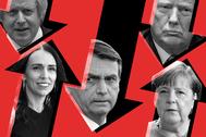 De izqda a dcha: Boris Johnson, Jacinda Ardern, Jair Bolsonaro, Donald Trump y Angela Merkel.