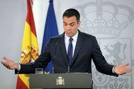 El presidente del Gobierno, Pedro Sánchez, en rueda de prensa en Moncloa.