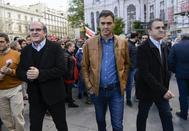 Gabilondo, Sánchez y Franco, en un acto.