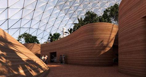 Algunos edificios simulan las arenas del desierto.