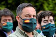 El líder de Vox, Santiago Abascal, este domingo en un acto de su partido celebrado en Santiago.