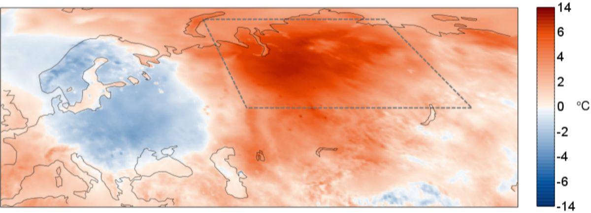 Mapa con el aumento de temperaturas registrados en mayo respecto al periodo 1981-2010