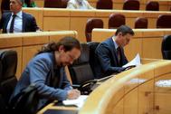 El presidente del Gobierno, Pedro Sánchez (dcha.), y su vicepresidente, Pablo Iglesias, en una sesión del Senado.