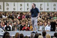 Pablo Iglesias interviene durante un mitin de Podemos.