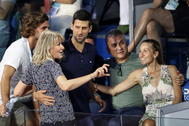 na and his brother Marko in the stands during Adria Tour at Novak Tennis Centre in Belgrade