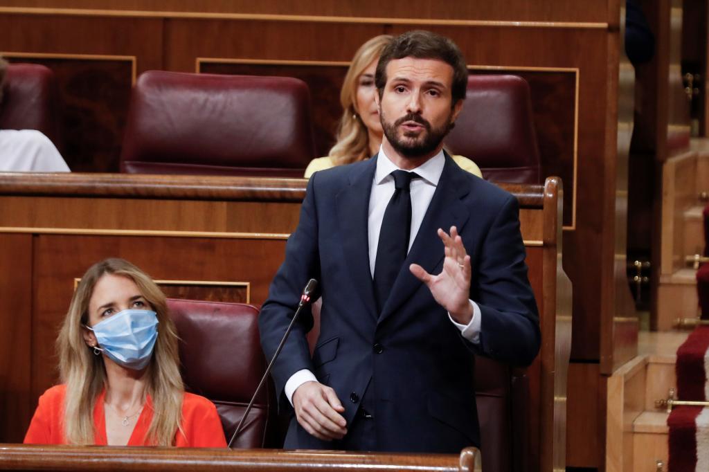 Pablo Casado, durante su intervención en la sesión de control.