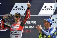 Jorge Lorenzo celebra una de sus victorias con Ducati en 2018.