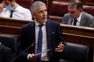 Fernando Grande-Marlska, durante el Pleno de hoy en el Congreso.