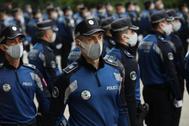 Agentes de la Policía Municipal, durante el acto de su patrón