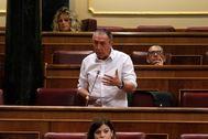 Joan Baldoví, en su escaño en el Congreso.