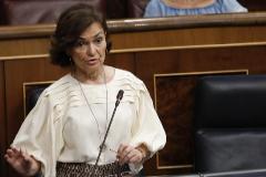 Carmen Calvo, durante la sesión de control al Gobierno.