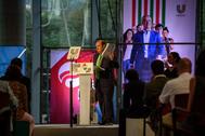 El presidente del PNV Andoni Ortuzar durante el mitin celebrado en el palacio Euskalduna de Bilbao.