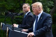 El presidente de EEUU, Donald Trump y su homólogo polac, Andrzej Duda.