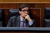 Salvador Illa, durante el debate celebrado este jueves en el Congreso.