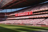 GRAF5768. lt;HIT gt;LISBOA lt;/HIT gt; (PORTUGAL).- Vista general de las bufandas que cubren las gradas del Estadio da Luz en lt;HIT gt;Lisboa lt;/HIT gt;, este martes. Un total de 30.000 bufandas donadas por los propios aficionados y socios del Benfica decoran cada asiento del Estadio da Luz, en lt;HIT gt;Lisboa lt;/HIT gt;, con el fin de que los jugadores encarnados sientan el aliento de su hinchada, que no puede acudir a la grada por la pandemia de Covid-19. /SÓLO USO EDITORIAL/NO VENTAS/NO ARCHIVO