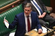 Keir Starmer, durante una intervención en el Parlamento británico.