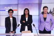 De izda. a dcha.: Rachida Dati, Anne Hidalgo y Agnès Buzyn, en un debate televisivo.