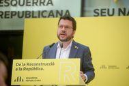 Pere Aragonès en el acto de ERC.