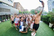 Los jugadores del Burgos celebran su clasificación para semifinales, el viernes.
