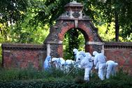 La policía forense toma muestras en el parque en el que se produjo el ataque.