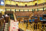 Aspecto del Hemiciclo del Congreso de los Diputados, en el primer pleno tras el estado de alarma.