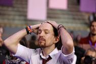 El secretario general de Podemos, Pablo Iglesias, en un acto del partido.