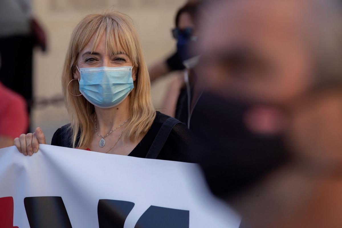 Carmen Castilla, secretaria general de UGT-A, durante una protesta este domingo en Sevilla.